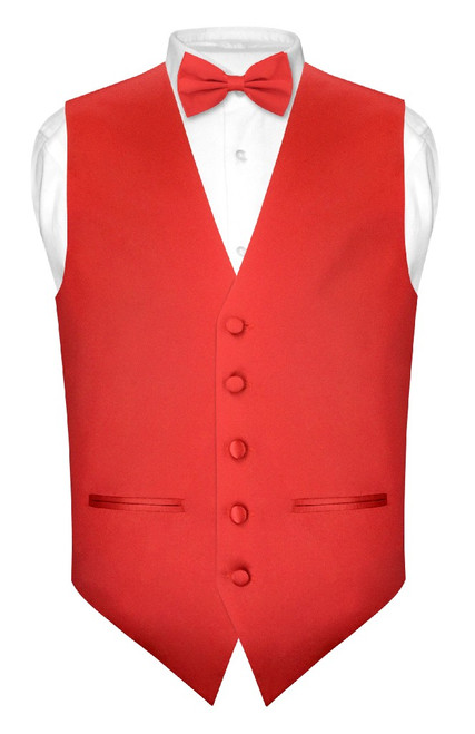 Mens Slim Fit Dress Vest BowTie Red Bow Tie Handkerchief Set