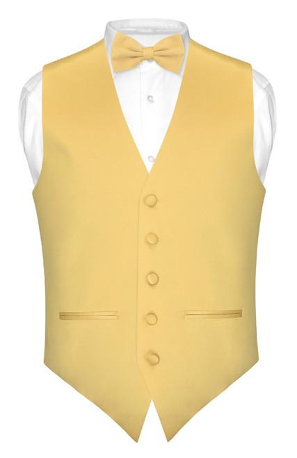 Mens Slim Fit Dress Vest BowTie Gold Bow Tie Handkerchief Set