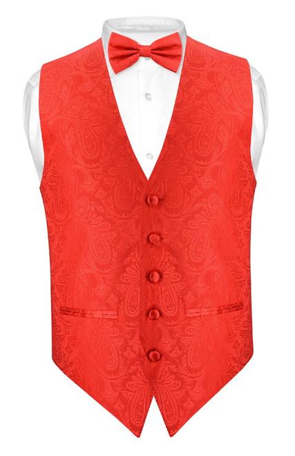 Mens Paisley Slim Fit Dress Vest Bow Tie Red Color BowTie Hanky Set