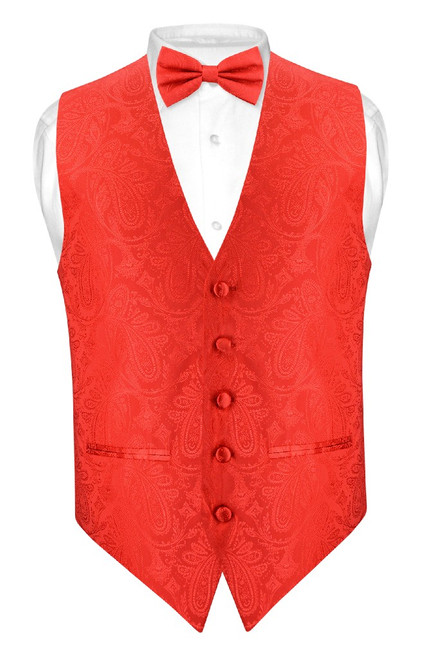 5546676b2a4f Mens Paisley Slim Fit Dress Vest Bow Tie Red Color BowTie Hanky Set