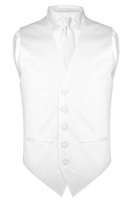 Slim Fit White Vest | Men Solid Color Dress Vest NeckTie Hanky Set