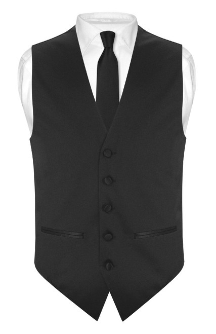 Slim Fit Black Vest | Mens Solid Color Dress Vest NeckTie Hanky Set