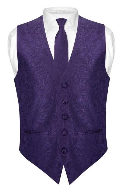 Mens Paisley Slim Fit Dress Vest Skinny NeckTie Purple Tie Hanky Set