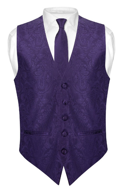 Mens Paisley Slim Fit Dress Vest Skinny NeckTie Purple Tie Hanky Set