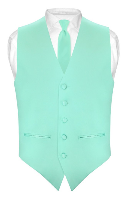 Slim Fit Aqua Green Vest | Mens Solid Color Dress Vest Tie Hanky