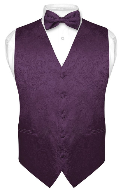Mens Paisley Slim Fit Dress Vest Bow Tie Dark Purple BowTie Hanky Set