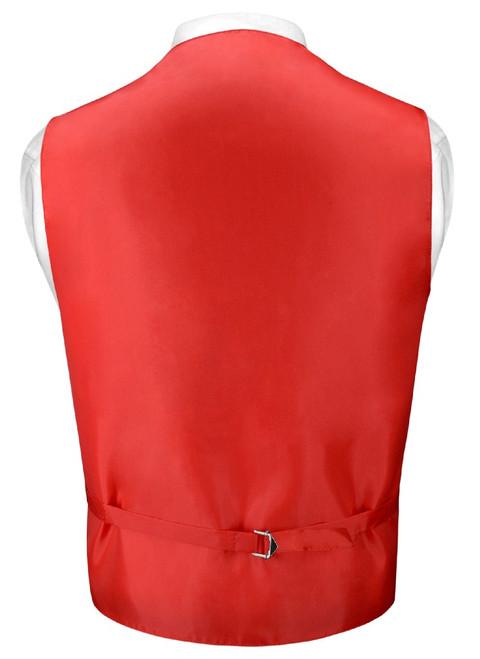 Mens Paisley Slim Fit Dress Vest Skinny NeckTie Red Tie Hanky Set