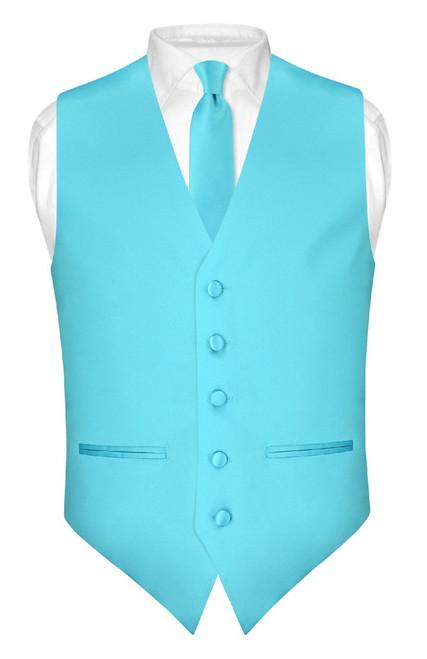 Slim Fit Turquoise Blue Vest | Mens Dress Vest NeckTie Hanky Set