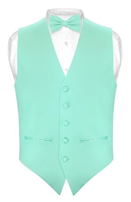Mens Slim Fit Dress Vest BowTie Aqua Green Bow Tie Handkerchief Set