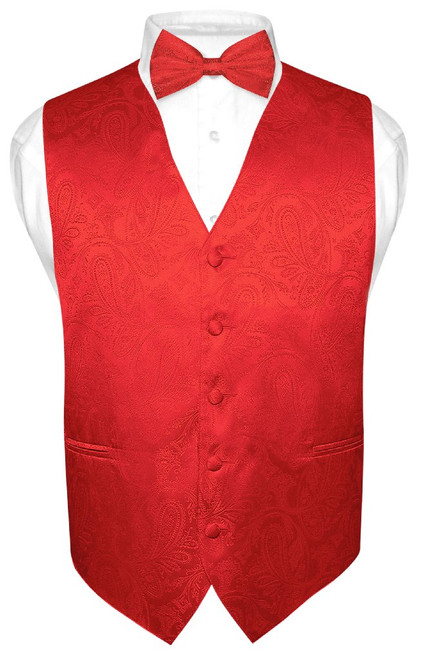 Red Paisley Bow Tie And Red Paisley Vest Set For Men