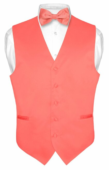 Coral Vest And Tie | Solid Coral Pink Slim Fit Vest And Bow Tie Set