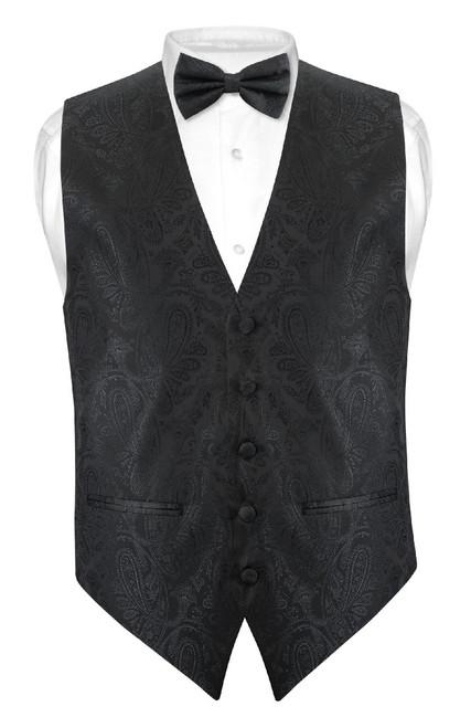 Mens Paisley Slim Fit Dress Vest Bow Tie Black BowTie Handkerchief Set