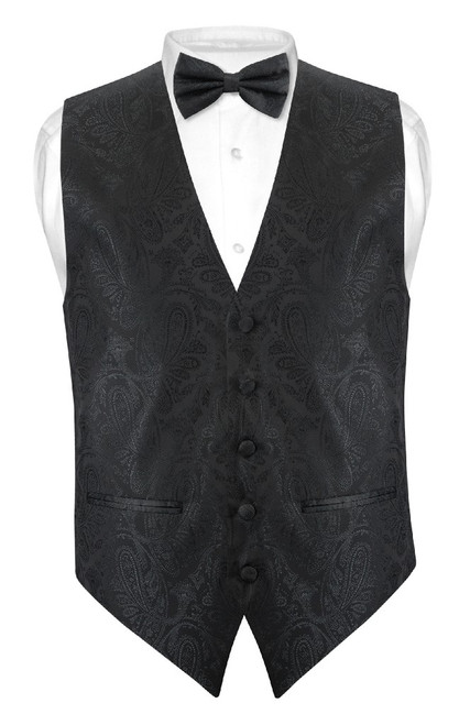 Mens Paisley Slim Fit Dress Vest Bow Tie Black BowTie Handkerchief Set