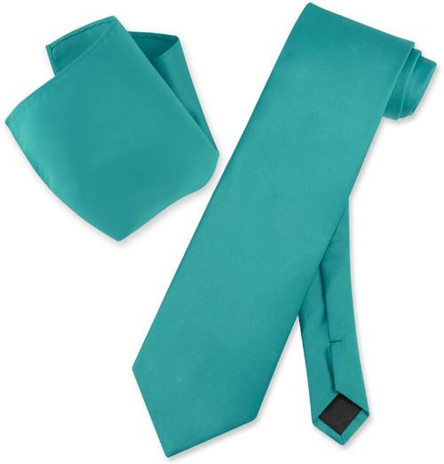 Vesuvio Napoli Solid Teal Color NeckTie Handkerchief Mens Neck Tie Set