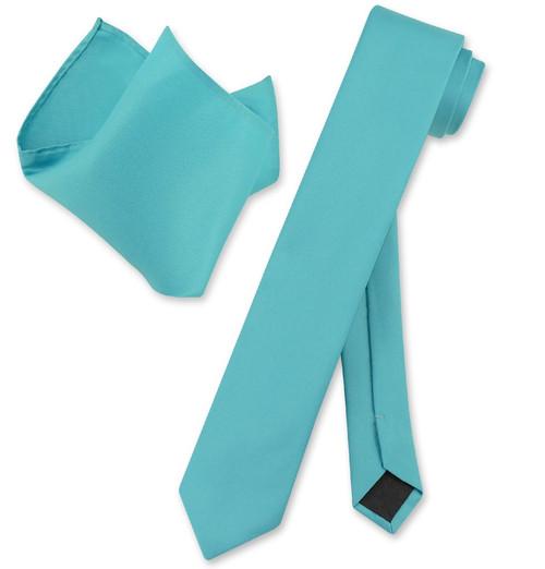 Vesuvio Napoli Solid Turquoise Blue Skinny NeckTie Hanky Mens Tie Set