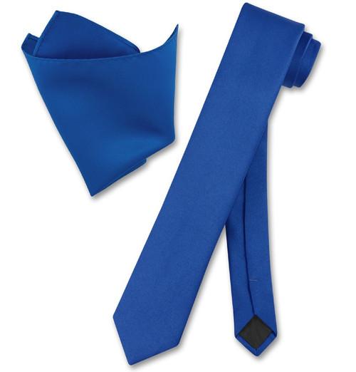 Vesuvio Napoli Solid Royal Blue Skinny NeckTie Handkerchief Tie Set