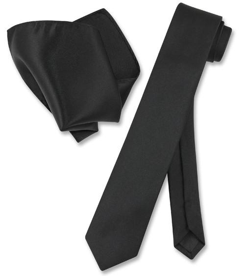 Vesuvio Napoli Solid Black Skinny NeckTie Handkerchief Mens Tie Set