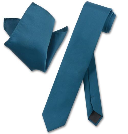 Vesuvio Napoli Blue Sapphire Skinny NeckTie Handkerchief Mens Tie Set
