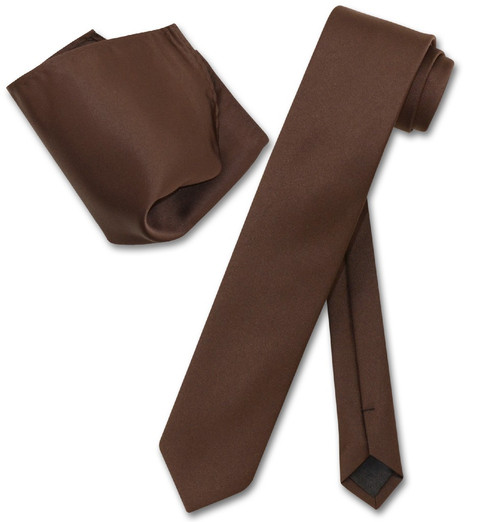 Vesuvio Napoli Chocolate Brown Skinny NeckTie Handkerchief Men Tie Set