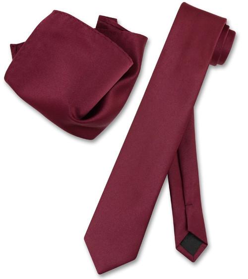 Vesuvio Napoli Solid Burgundy Skinny NeckTie Handkerchief Mens Tie Set