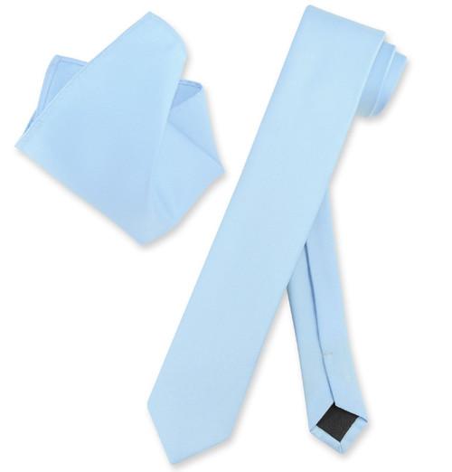 Vesuvio Napoli Solid Baby Blue Skinny NeckTie Hanky Mens Neck Tie Set