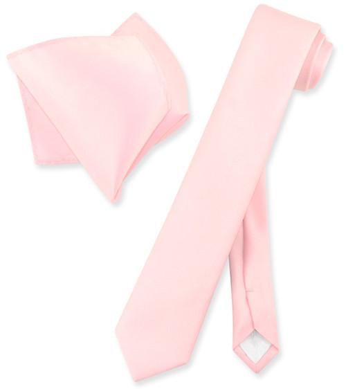 Vesuvio Napoli Solid Pink Skinny NeckTie Hanky Mens Narrow Tie Set