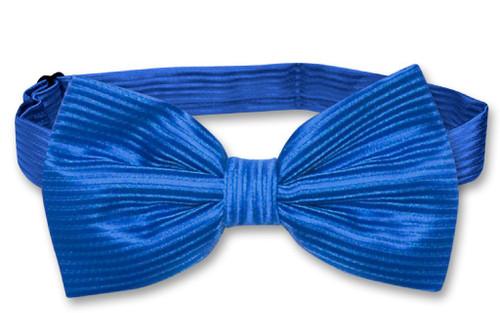 Vesuvio Napoli BowTie Royal Blue Color Horizontal Striped Mens Bow Tie