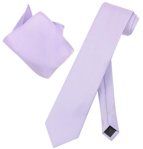 Extra Long Lavender Tie Set | Solid Lavender Color XL NeckTie