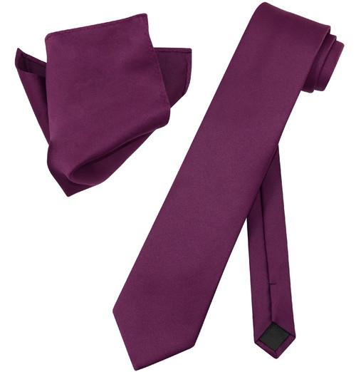 Extra Long Eggplant Tie Set | Solid Eggplant Color XL NeckTie