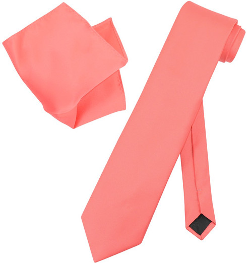 Extra Long Coral Pink Tie Set | Solid Coral Pink Color XL NeckTie