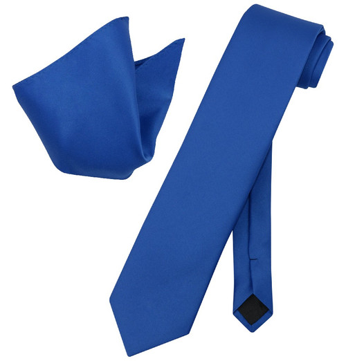 Extra Long Royal Blue Tie Set | Solid Royal Blue Color XL NeckTie