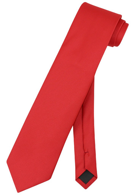Extra Long Red Tie | Solid Red Color XL NeckTie