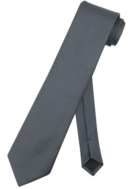 Extra Long Charcoal Grey Tie | Solid Charcoal Color XL NeckTie