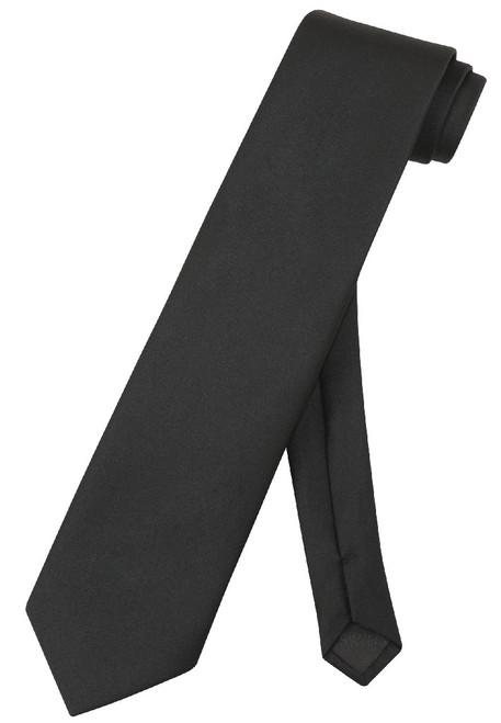 Extra Long Black Tie | Solid Black Color XL NeckTie