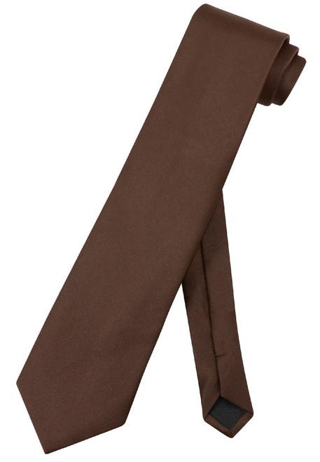 Extra Long Brown Tie   Solid Brown Color XL NeckTie