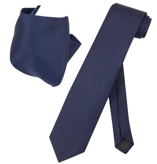 Extra Long Navy Blue Tie Set | Solid Navy Blue Color XL NeckTie