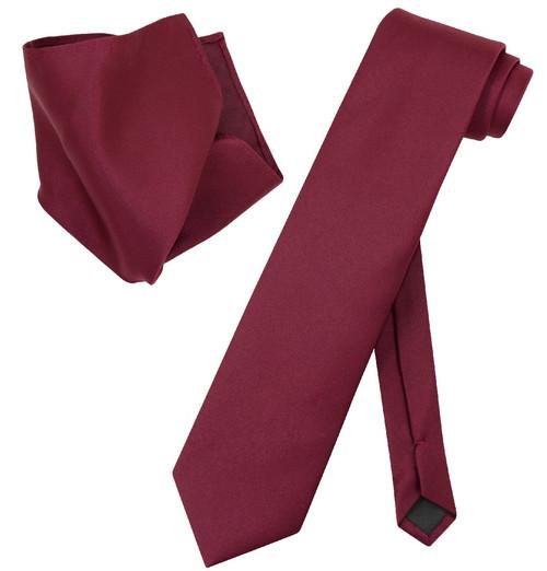 Extra Long Burgundy Tie Set | Solid Burguny Color XL NeckTie