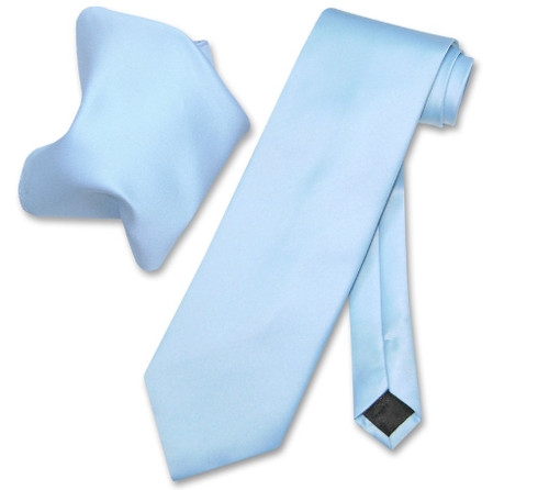 Baby Blue Tie And Baby Blue Handkerchief Matching Set For Men