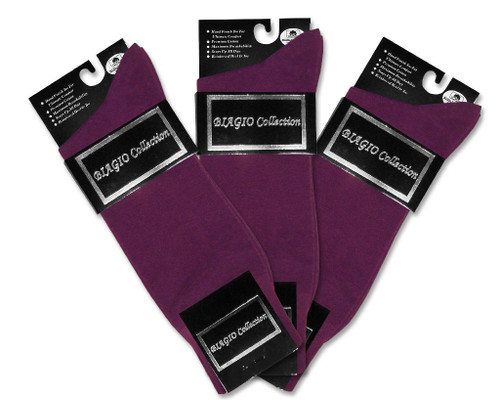 Solid Purple Color Mens Socks | 3 Pair of Biagio Cotton Dress Socks
