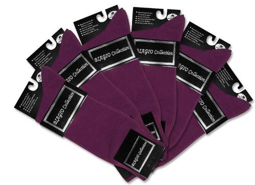 Solid Purple Color Mens Socks | 6 Pair of Biagio Cotton Dress Socks