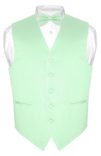 Laurel Green Color Vest and BowTie   Mens Dress Vest & Bow Tie Set
