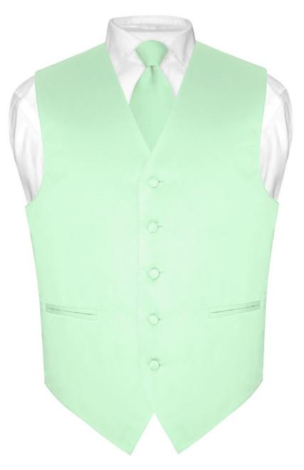 Laurel Green Color Vest and NeckTie | Mens Dress Vest Neck Tie Set