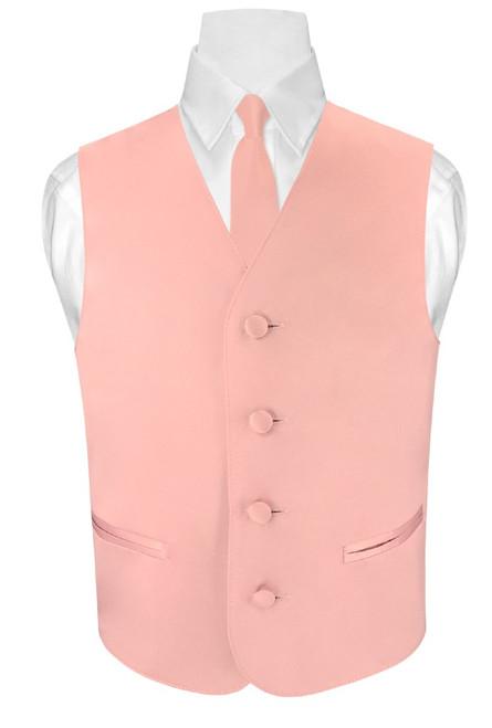 Boys Dress Vest Neck Tie Solid Dusty Pink Vest and NeckTie Set