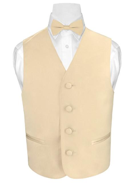 Boys Light Brown Dress Vest And BowTie Set | Vest And Bowtie Set