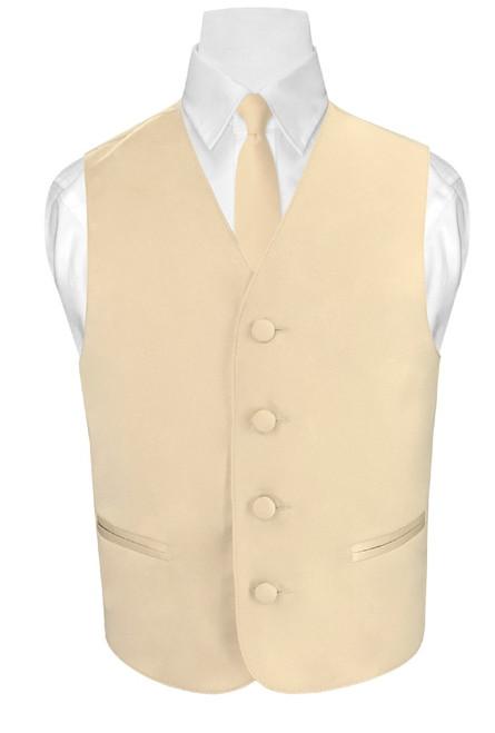 Boys Dress Vest Neck Tie Solid Light Brown Vest and NeckTie Set