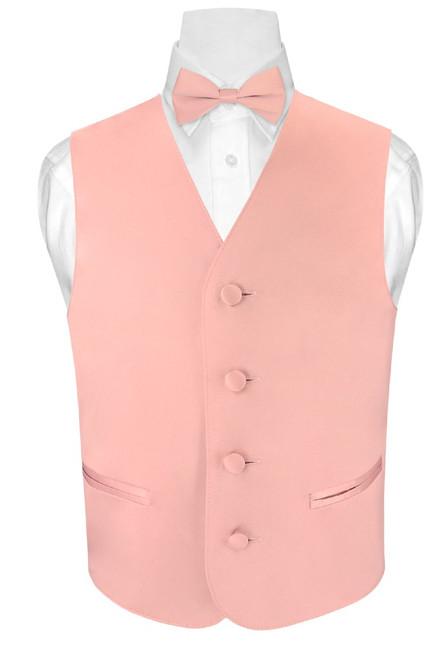 Boys Dress Vest BowTie Set Solid Dusty Pink Vest and BowTie Set