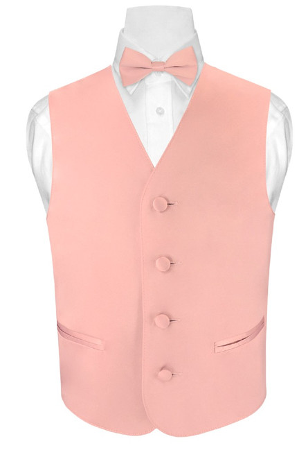 Boys Dress Vest BowTie Set Solid Dusty Pink Vest and BowTie Set