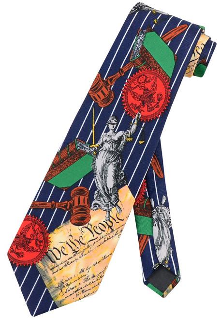 US Constitution NeckTie | We The People Lady Justice Men Neck Tie