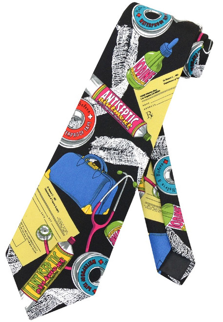 Doctor Profession Mens NeckTie | Medical Themed Mens Neck Tie