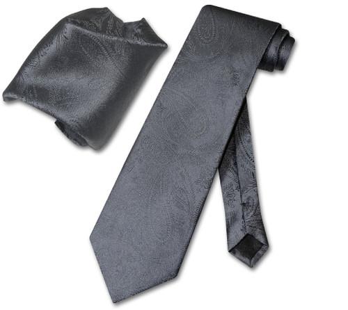 Vesuvio Napoli Charcoal Grey Paisley NeckTie Handkerchief Neck Tie Set